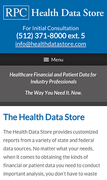 Responsive Mobile Attorney Website for RPC Health Data Store