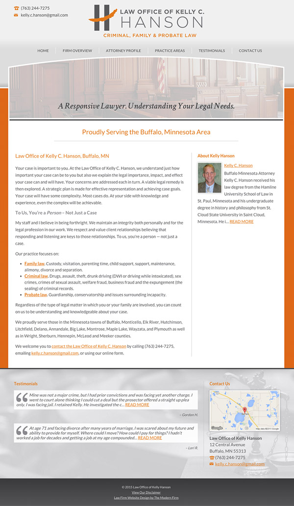 Law Firm Website Design for Law Office of Kelly C. Hanson