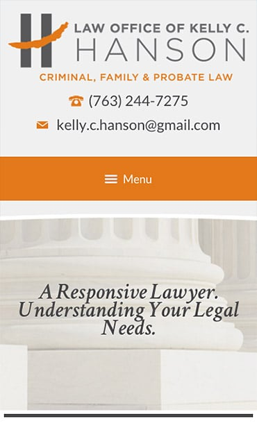 Responsive Mobile Attorney Website for Law Office of Kelly C. Hanson