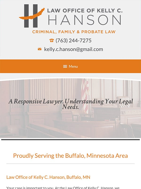 Mobile Friendly Law Firm Webiste for Law Office of Kelly C. Hanson