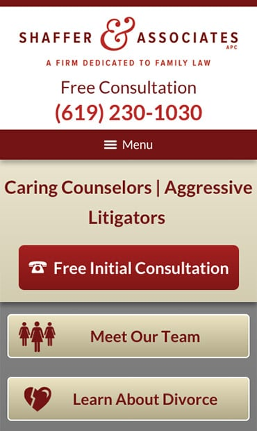 Responsive Mobile Attorney Website for Shaffer & Associates APC