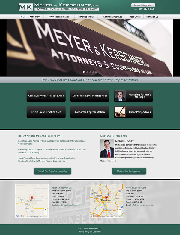 Law Firm Website Design for Meyer & Kerschner, Ltd.