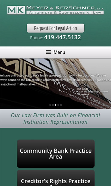 Responsive Mobile Attorney Website for Meyer & Kerschner, Ltd.