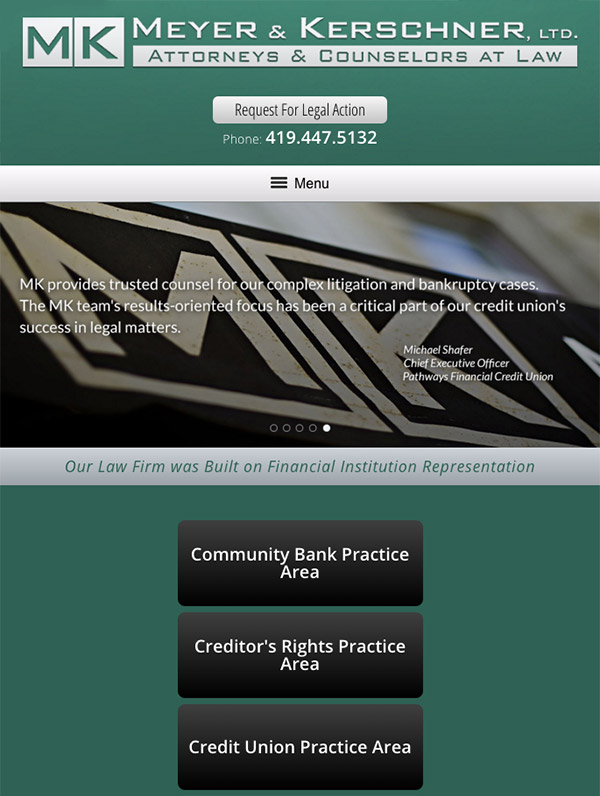 Mobile Friendly Law Firm Webiste for Meyer & Kerschner, Ltd.