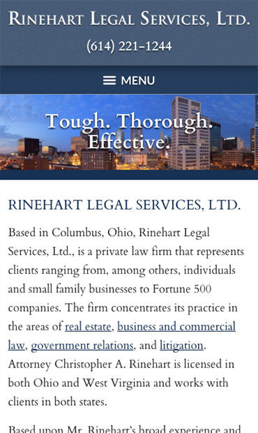 Responsive Mobile Attorney Website for Rinehart Legal Services, Ltd.