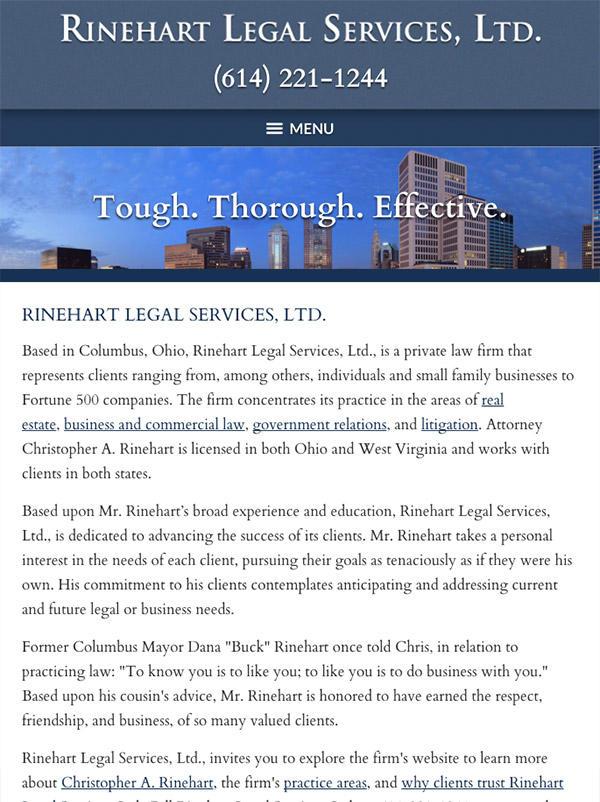 Mobile Friendly Law Firm Webiste for Rinehart Legal Services, Ltd.