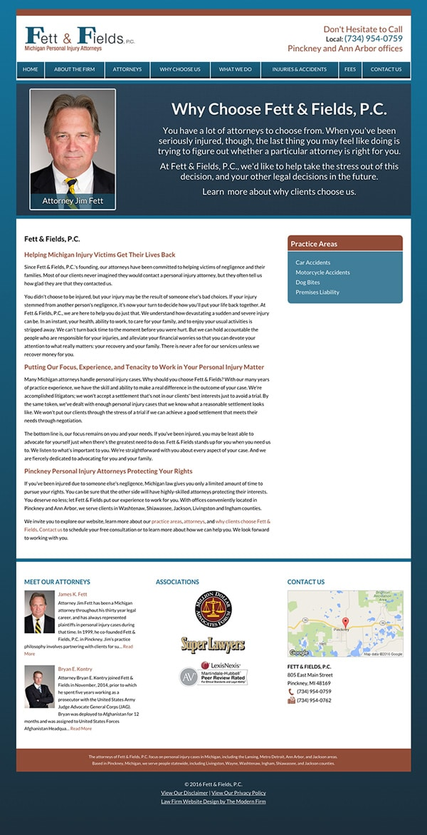 Law Firm Website Design for Fett & Fields, P.C.