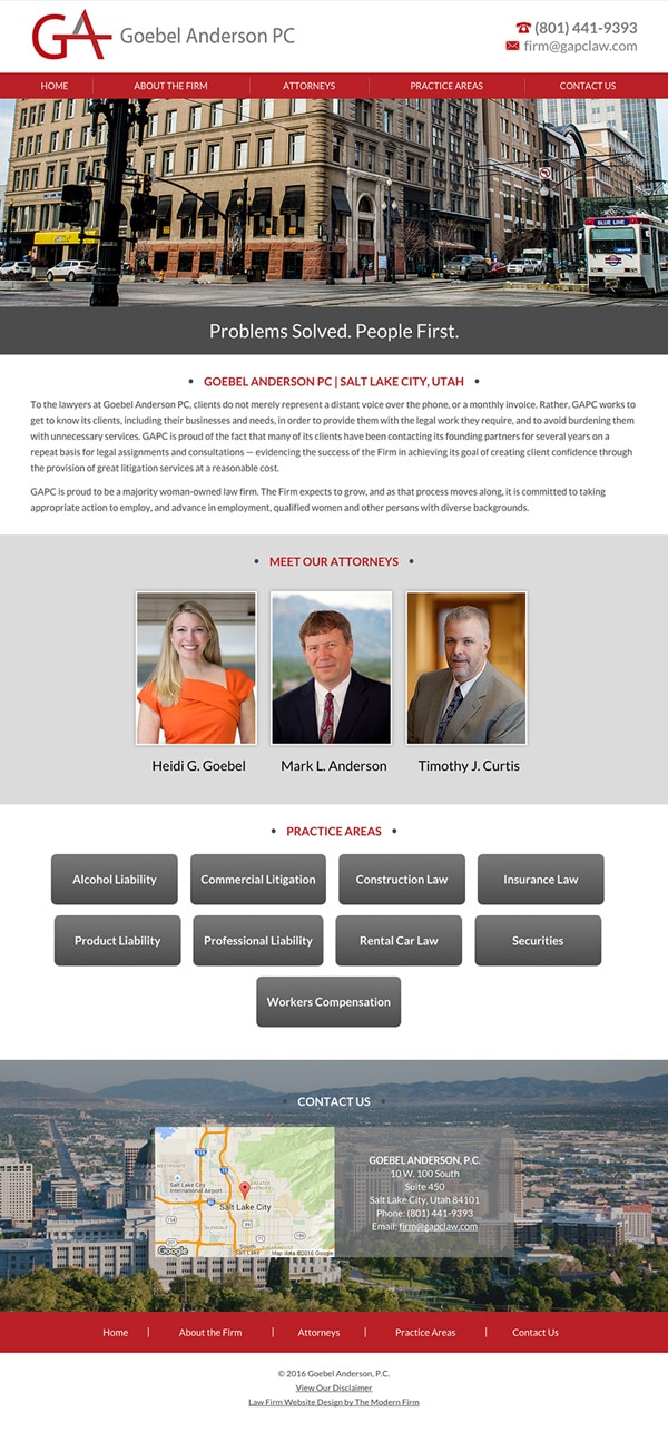 Law Firm Website Design for Goebel Anderson PC