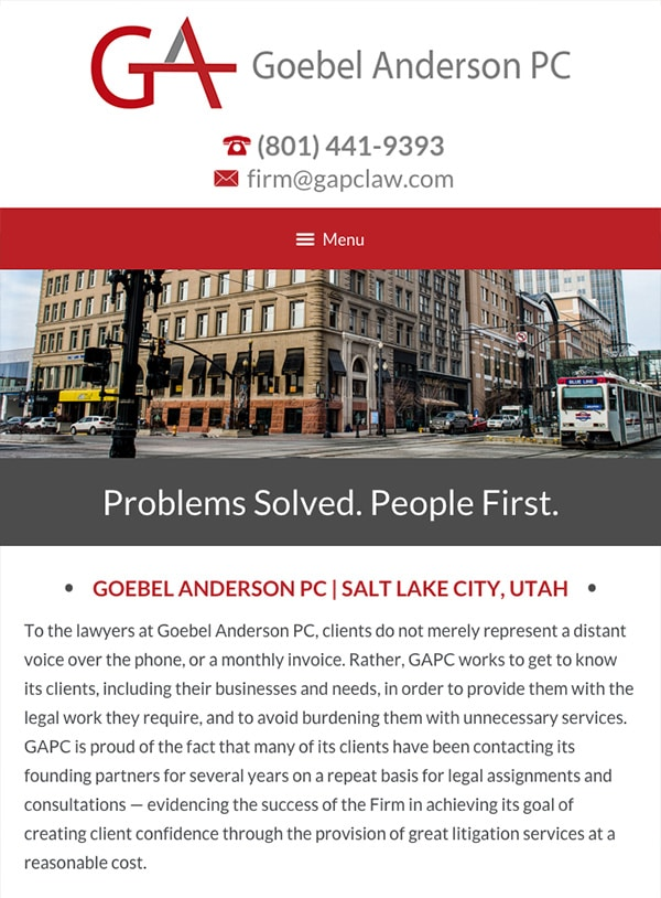 Mobile Friendly Law Firm Webiste for Goebel Anderson PC