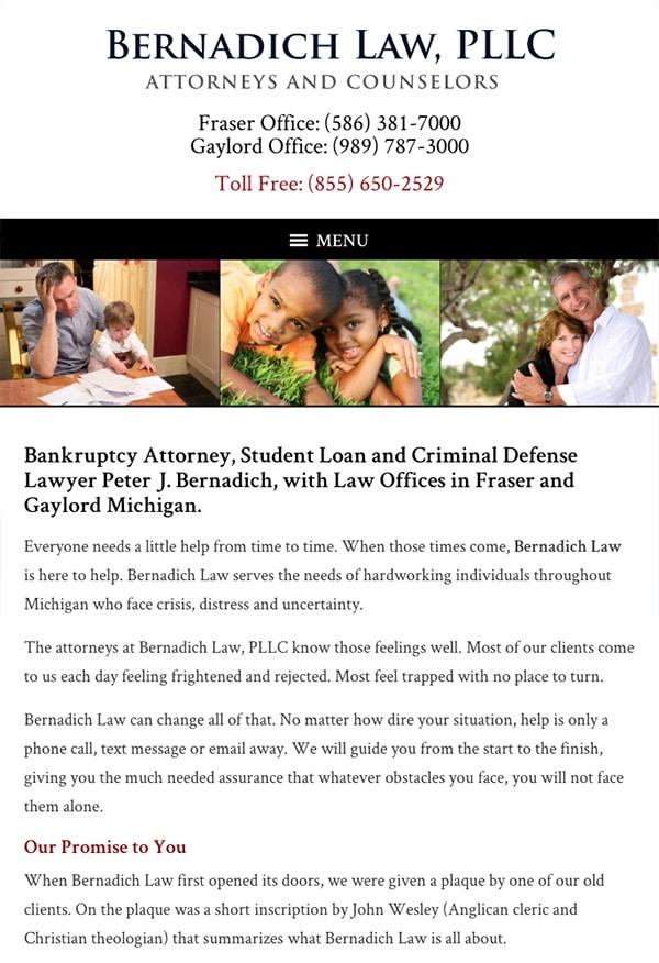 Mobile Friendly Law Firm Webiste for Bernadich Law, PLLC
