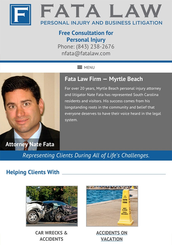 Mobile Friendly Law Firm Webiste for Fata Law Firm