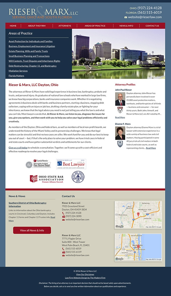 Law Firm Website for Rieser & Marx, LLC