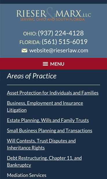 Responsive Mobile Attorney Website for Rieser & Marx, LLC