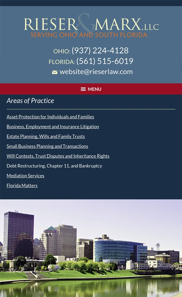 Mobile Friendly Law Firm Webiste for Rieser & Marx, LLC
