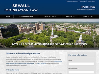Law Firm Website design for Sewall Immigration Law