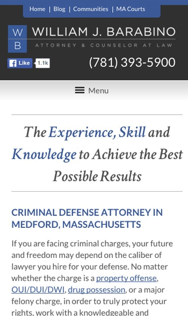 Responsive Mobile Attorney Website for Law Office of William J. Barabino