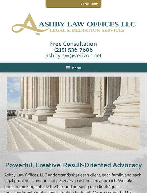 Mobile Friendly Law Firm Webiste for Ashby Law Offices, LLC