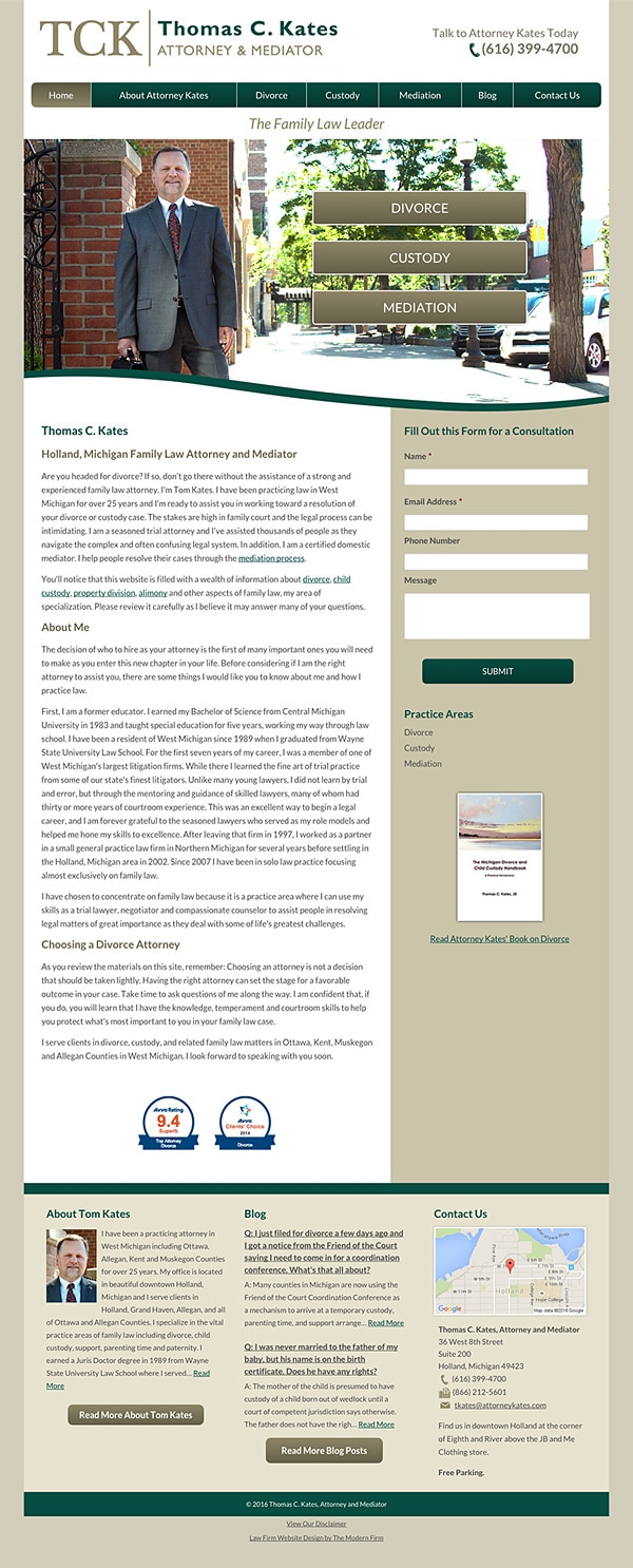 Law Firm Website Design for Thomas C. Kates, Attorney & Mediator