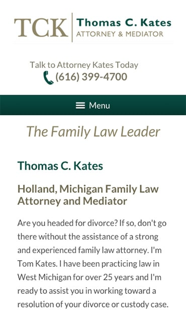 Responsive Mobile Attorney Website for Thomas C. Kates, Attorney & Mediator