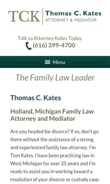 Responsive Mobile Attorney Website for Thomas C. Kates, Attorney & Mediator