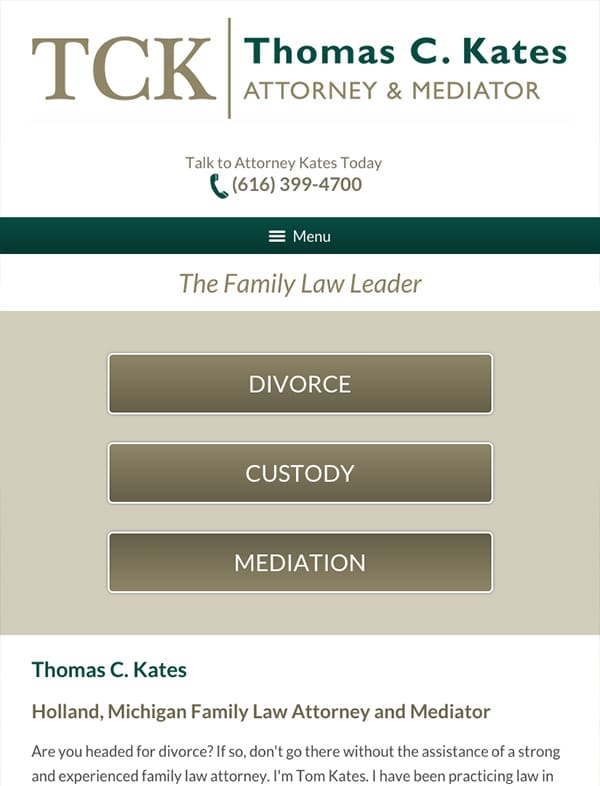 Mobile Friendly Law Firm Webiste for Thomas C. Kates, Attorney & Mediator