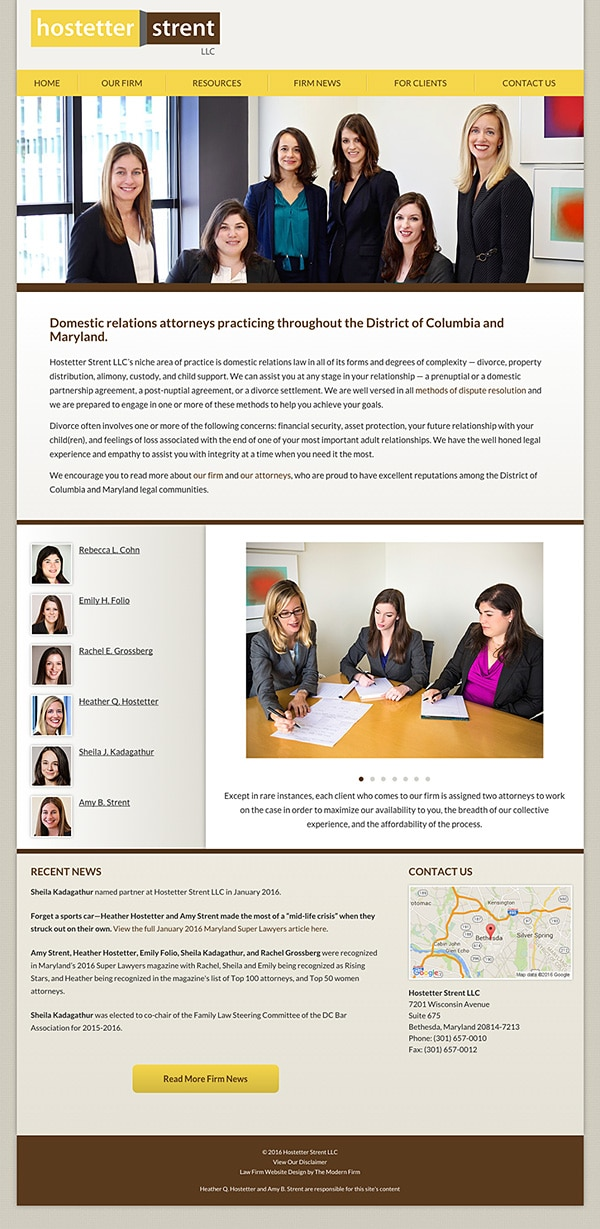Law Firm Website Design for Hostetter Strent LLC