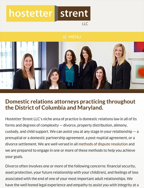 Mobile Friendly Law Firm Webiste for Hostetter Strent LLC