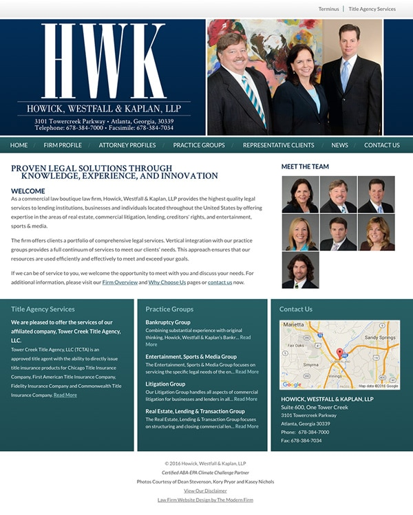 Law Firm Website for Howick, Westfall & Kaplan, LLP