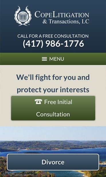 Responsive Mobile Attorney Website for Cope Litigation & Transactions, LC