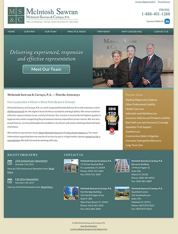 Law Firm Website Design for McIntosh Sawran & Cartaya, P.A.