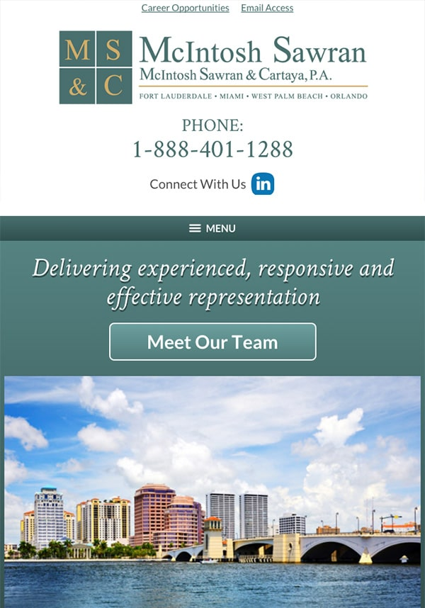 Mobile Friendly Law Firm Webiste for McIntosh Sawran & Cartaya, P.A.