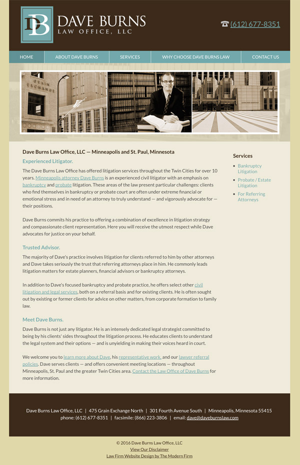 Law Firm Website Design for Dave Burns Law