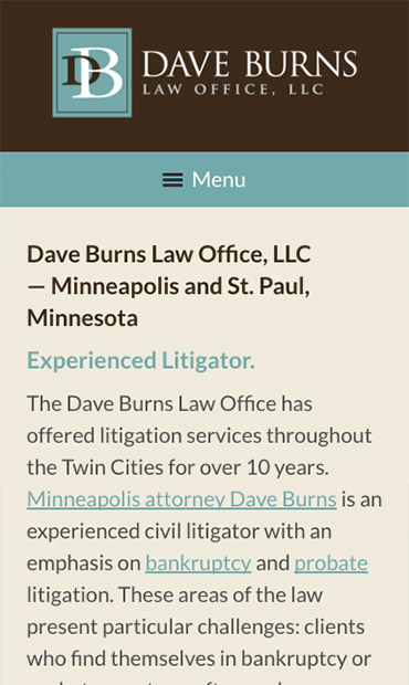 Responsive Mobile Attorney Website for Dave Burns Law