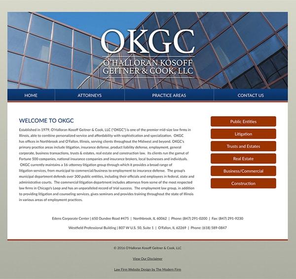 Law Firm Website Design for O'Halloran Kosoff Geitner & Cook, LLC