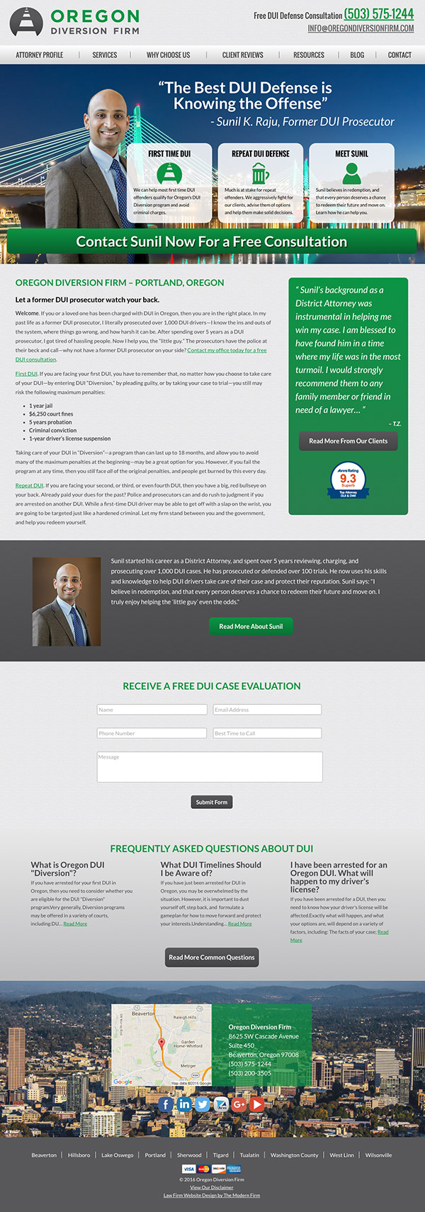 Law Firm Website Design for Oregon Diversion Firm