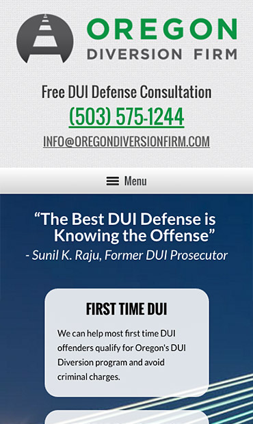Responsive Mobile Attorney Website for Oregon Diversion Firm
