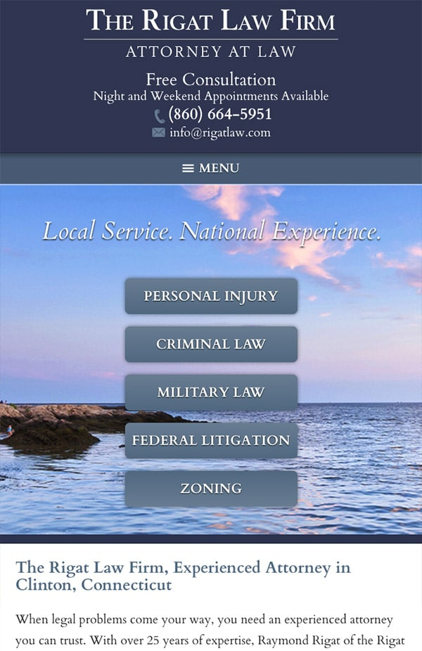 Mobile Friendly Law Firm Webiste for The Rigat Law Firm