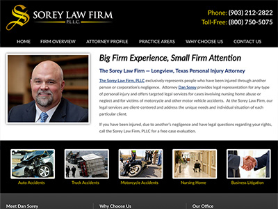Law Firm Website design for The Sorey Law Firm, PLLC