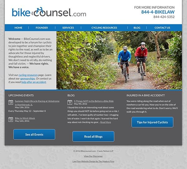 Law Firm Website for Bikecounsel.com - Casey Nelson LLP