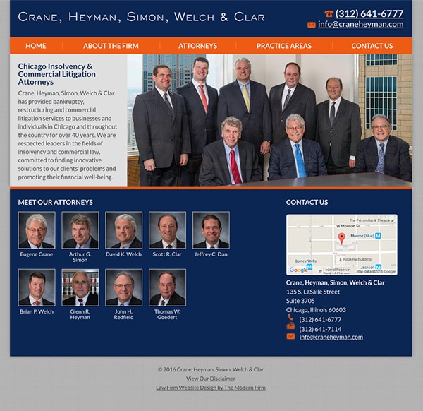Law Firm Website for Crane, Heyman, Simon, Welch & Clar