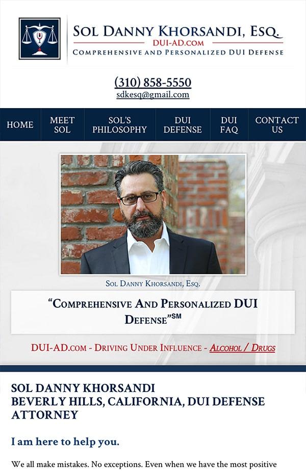 Mobile Friendly Law Firm Webiste for Sol Danny Khorsandi, Esq.