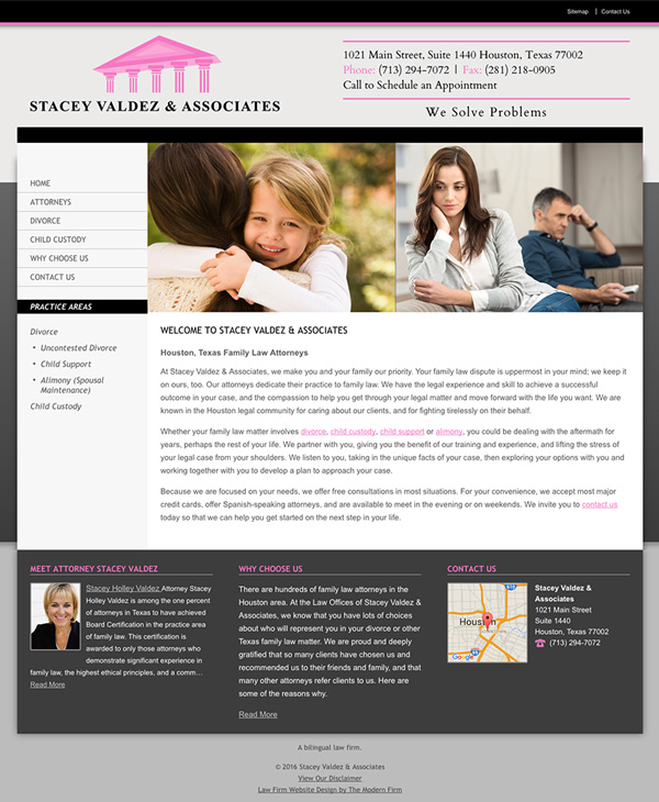 Law Firm Website Design for Stacey Valdez & Associates
