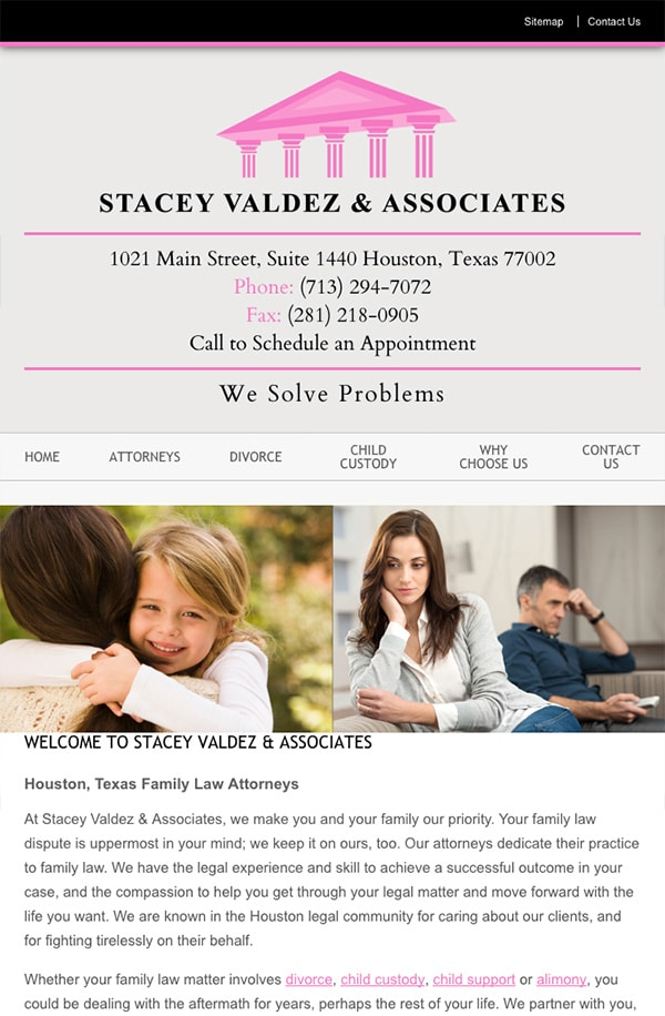 Mobile Friendly Law Firm Webiste for Stacey Valdez & Associates