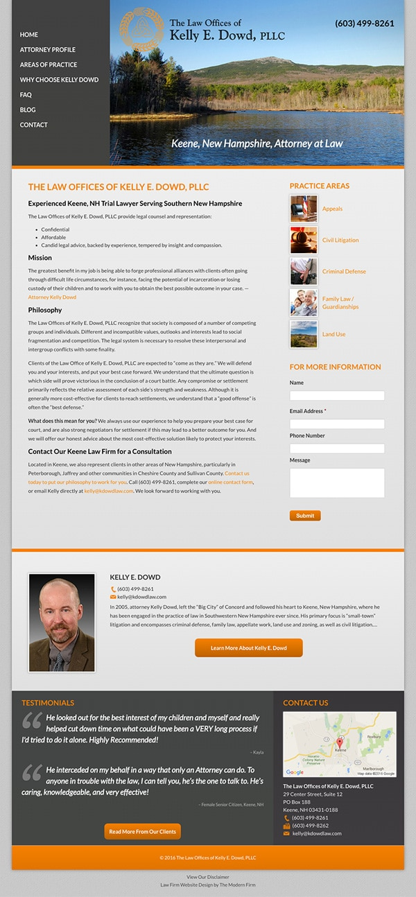 Law Firm Website for The Law Offices of Kelly E. Dowd, PLLC