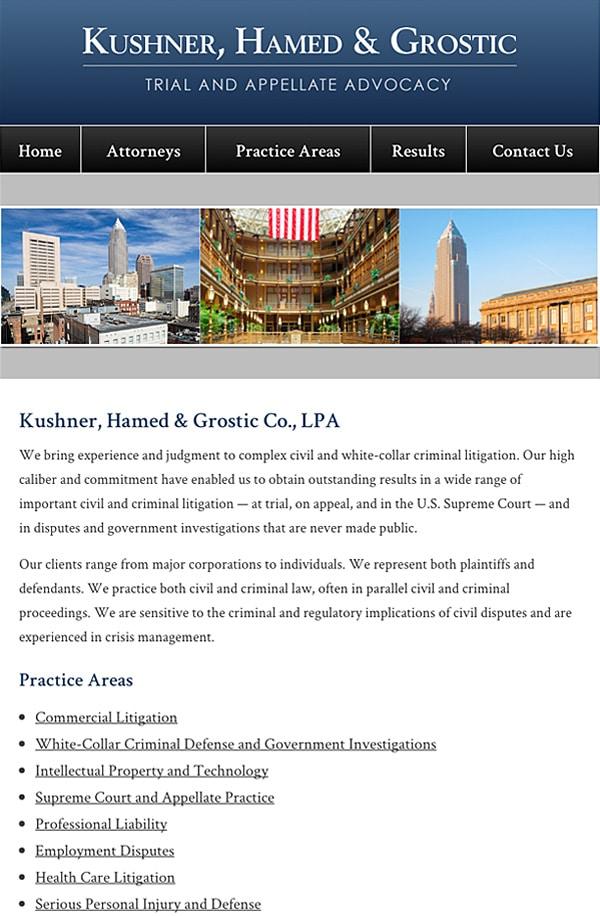 Mobile Friendly Law Firm Webiste for Kushner, Hamed & Grostic Co., LPA