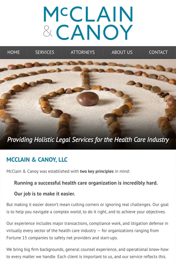 Mobile Friendly Law Firm Webiste for McClain & Canoy, LLC
