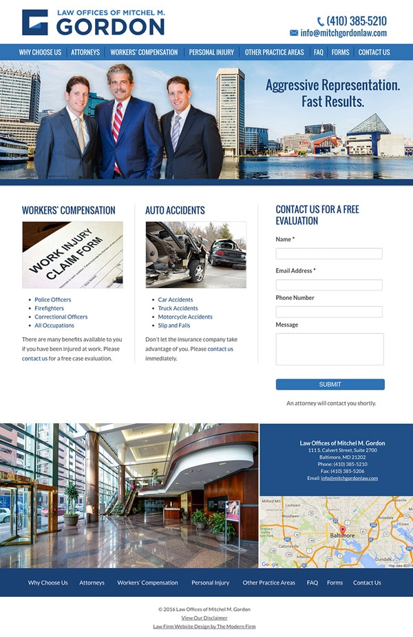 Law Firm Website for Law Offices of Mitchel M. Gordon