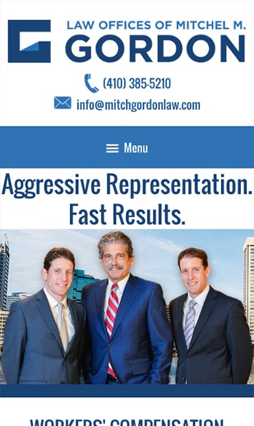 Responsive Mobile Attorney Website for Law Offices of Mitchel M. Gordon