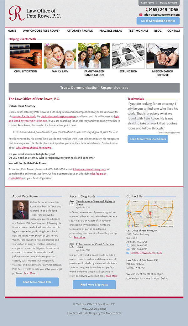 Law Firm Website Design for Law Office of Pete Rowe, P.C.