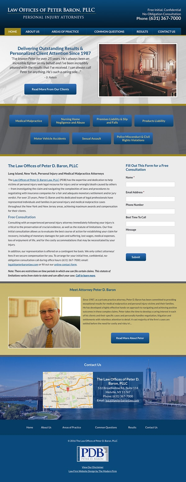 Law Firm Website Design for Law Offices of Peter Baron, PLLC